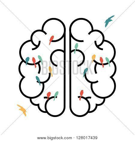 Imagination Concept Design Of Brain With Birds