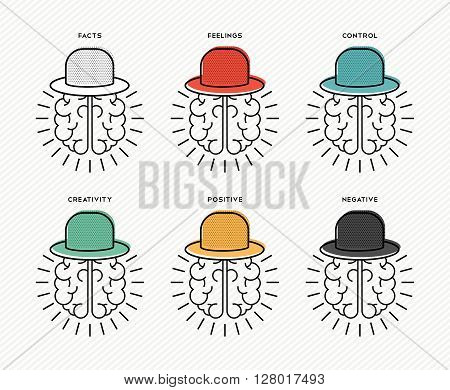 Six Thinking Hats Concept Design With Human Brains