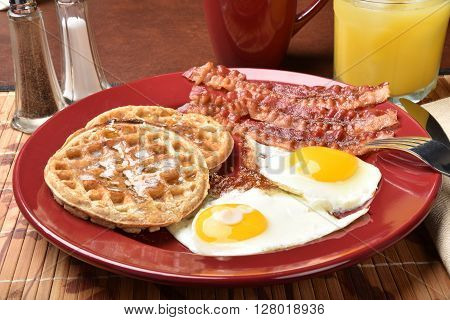 Bacon Eggs And Waffles