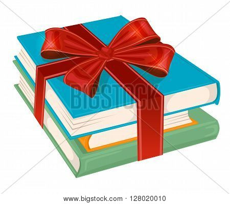 stack of books wrapped with a red ribbon on white background
