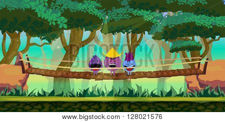 Forest Game Background for 2d game application. Vector design.