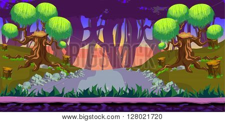Forest Game Background for 2d game application. Vector design. Size 1024x512.