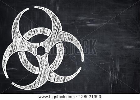 Chalkboard writing: Bio hazard sign on a grunge background