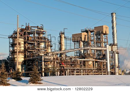 Petrochemical Refinery In The Evening