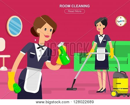 Hotel staff and service, reception, Room cleaning , chambermaid, cool flat tourism elements