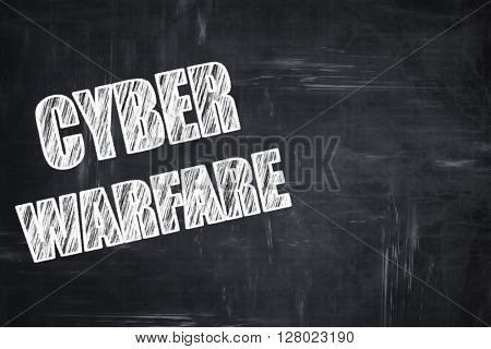 Chalkboard writing: Cyber warfare background