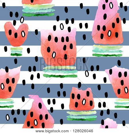 Watermelon. Seamless pattern with watermelon. Watermelon slice watercolor illustration. Cute watermelon background. Fresh watermelon.