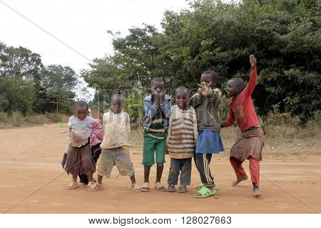 January 20-2016-Pomerini in Tanzania-Africa-The game of a group of unidentified African children guests of the Franciscan Friars community of Pomerini which give them education food and medical care