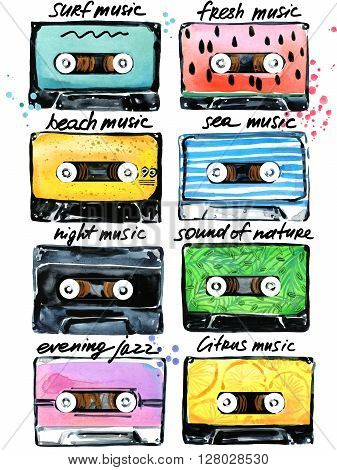 Retro Cassettes. Audio cassettes illustration. Summer time music. Watercolor cassettes illustration. Audio cassette. Retro cassette collection. T-shirt design