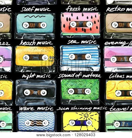 Seamless pattern. Retro Cassettes. Audio cassettes illustration. Summer time music. Watercolor cassettes illustration. Audio cassette. Retro cassette collection. T-shirt design