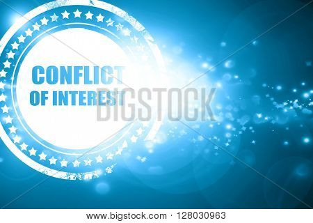 Blue stamp on a glittering background: conflict of interest