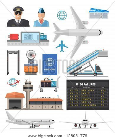 Airport icon set with pilot, stewardess, aircraft and equipment for travel isolated vector illustration