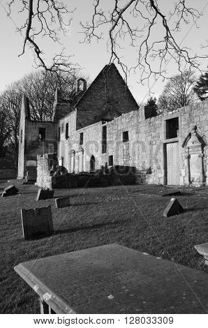 An ancient graveyard and the ruins of St. Bridgets Kirk