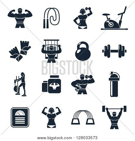 Bodybuilding black icon set with description of sports people trainers equipment and sports nutrition vector illustration