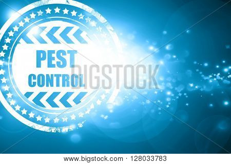 Blue stamp on a glittering background: Pest control background