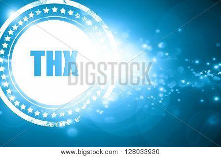 Blue stamp on a glittering background: thx internet slang