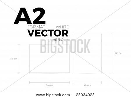 A2 page format white vector eps10 template. vertical and horizontal orientation design with A2 format size. Vector editable white page template