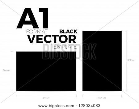 A1 page format black vector eps10 template. vertical and horizontal orientation design with A1 format size. Vector editable black page template