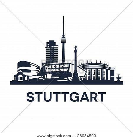 Abstract skyline of city Stuttgart in Germany, vector illustration