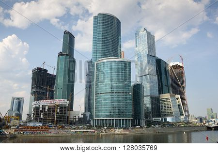MOSCOW - JULY 04: Moscow International Business Center on July 04 2013 Moscow Russia. Moscow-City or Moskva-City is a commercial district in central Moscow located near the Third Ring Road in Presnensky District