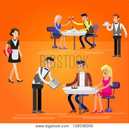 Vector detailed character people in the restaurant, canteen catering service for public and personnel,  waiter serves guests