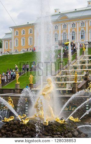 PETERHOF- JULY 07: Samson fountains of the Grand Cascade on July 07 2013 Saint-Petersburg Russia. The park ensemble of Peterhof belongs to the world heritage of UNESCO