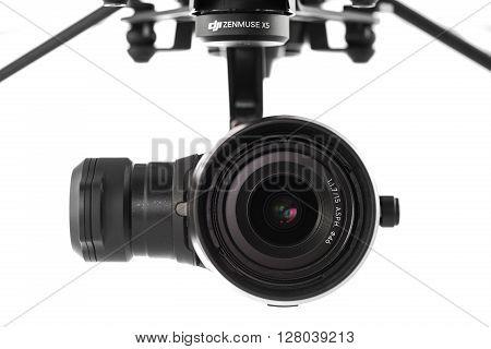 Varna, Bulgaria - April 23 ,2016: Image Of Dji Inspire 1 Pro Drone Uav Quadcopter Camera Which Shoot