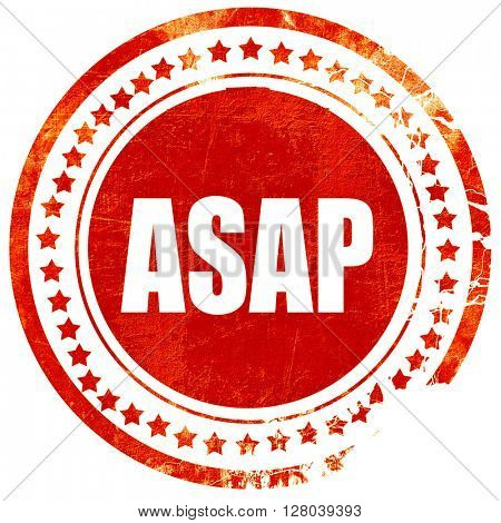 asap, grunge red rubber stamp on a solid white background