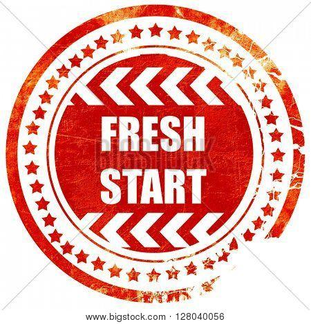 Fresh start sign, grunge red rubber stamp on a solid white backg