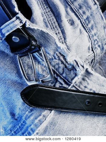 Belt And Denim Jeans Close Up