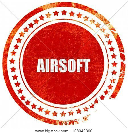 airsoft sign background, grunge red rubber stamp on a solid whit