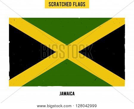 jamaican grunge flag with little scratches on surface. A hand drawn scratched flag of Jamaica with a easy grunge texture. Vector modern flat design.