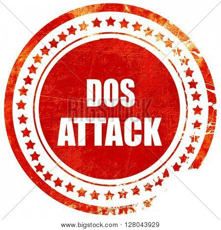 DOS warfare background, grunge red rubber stamp on a solid white