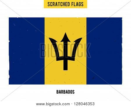 Barbados grunge flag with little scratches on surface. A hand drawn scratched flag of Barbados with a easy grunge texture. Vector modern flat design.