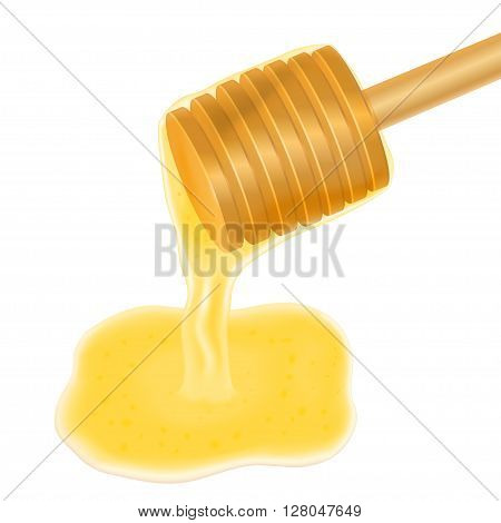 Honey dripping from wooden honey dipper, vector illustration isolated on white