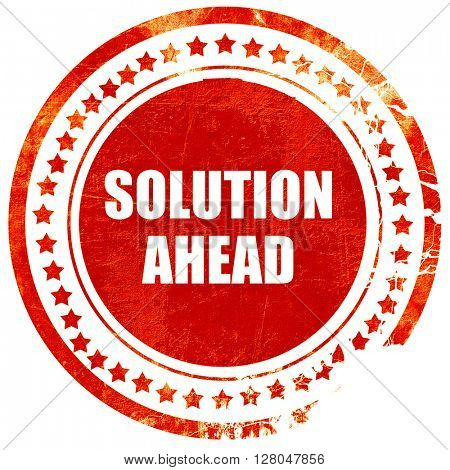solution ahead, grunge red rubber stamp on a solid white background