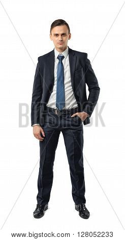 Front view of cutout businessman putting hand in his pocket. Successful lifestyle. Business staff. Office clothes. Dress code. Presentable appearance. Self-confidence.