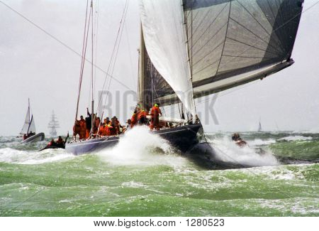 j class yachts racing in the solent for americas cup jubilee poster