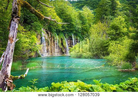 Waterfalls at the National park Plitvice lakes . Croatia