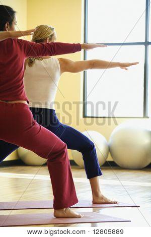 Caucasian prime adult females in yoga class.