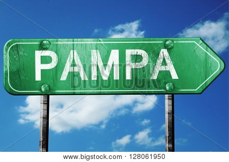 pampa road sign , worn and damaged look