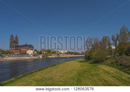 View On Magdeburg City And Elbe In Spring, Magdeburg, Germany