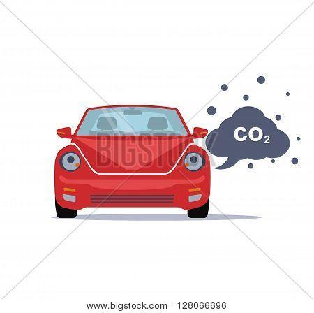 Car emits carbon dioxide. Flat style. Vector illustration