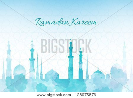Ramadan Kareem greeting background mosque watercolor illustration with arabic town.
