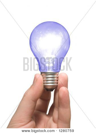 blue light bulb in hand isolated on white poster