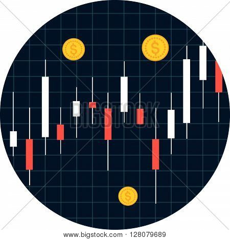 Stocks Theme, Flat Style, Colorful, Vector Icon