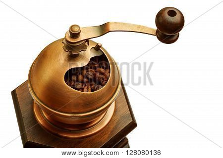 photo of coffee mill isolated on white