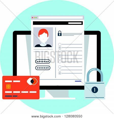Security, Account Theme, Flat Style, Colorful, Vector Icon For Info Graphics, Websites, Mobile And P