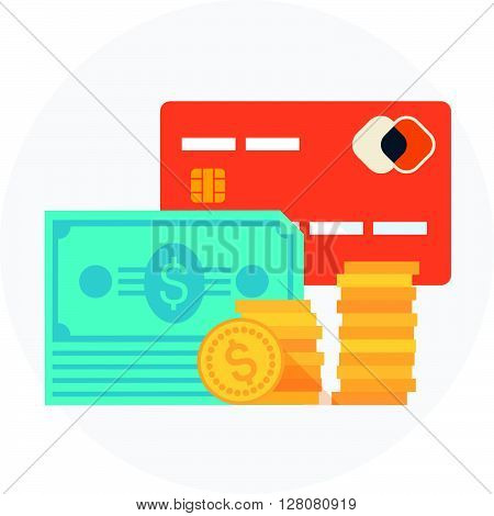 Payment Type Theme, Flat Style, Colorful, Vector Icon