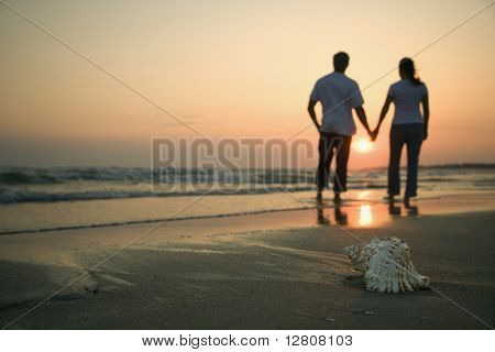 Back view of mid-adult couple holding hands walking on beach with seashell in foreground.